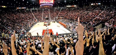 Fingers up in Viejas Arena
