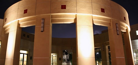Parma Payne Goodall Alumni Center rotunda at night