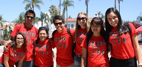 students in Aztec for Life tees