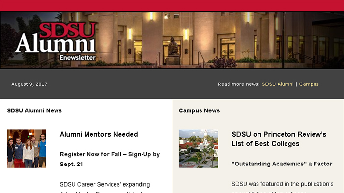Do You Get the SDSU Alumni Enews?