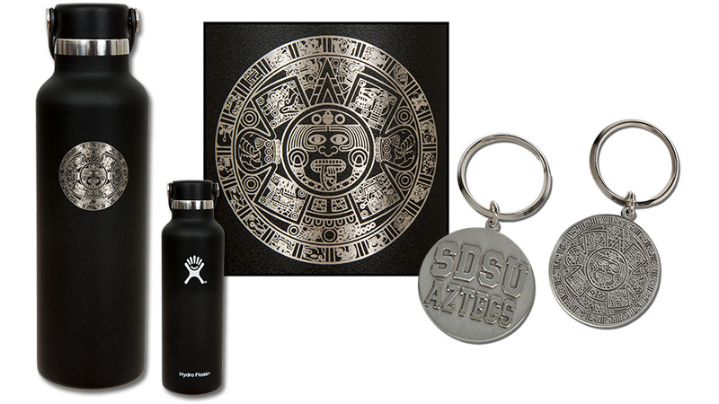 Aztec Calendar Hydro Flask and Key Tag