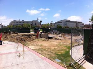 Campanile Walkway construction