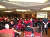 Watching the Aztecs on the big screen in the Parma Payne Goodall Alumni Center ballroom.